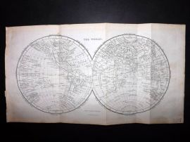 Goldsmith & Hall C1860 Antique Map. The World. Twin Hemipsheres